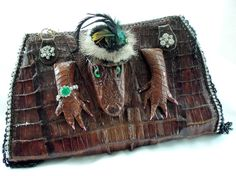 Vintage Crocodile Clutch, Avant Garde, 1940s Vintage Croc Skin Purse, Up cycled Haute Couture, One of a Kind Accessory, LAYAWAY PLANS op Etsy, 2.598,84€
