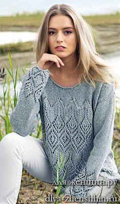 Пуловер-туника с ажурным рисунком спицами. Обсуждение на LiveInternet - Российский Сервис Онлайн-Дневников
