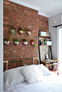 Spare bedroom fireplace wall treatment.