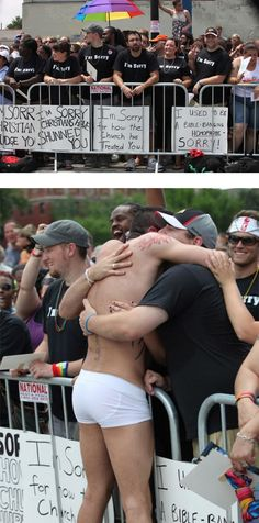 This picture of Chicago Christians who showed up at a gay pride parade to apologize for homophobia in the Church. And the reaction from the parade.... >>21 Pictures That Will Restore Your Faith in Humanity :) These made me cry, no joke