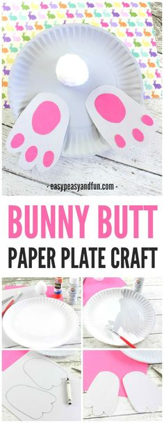 baby shower decoration ideas. Bunny Butt Paper Plate Craft