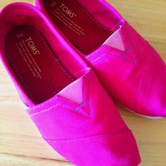 My first pair! DIY hot pink toms were a success! :)