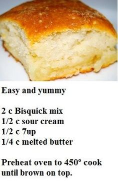 Bisquick easy Biscuits…previous pinner said….Everyone raved and two batches … Bisquick easy Biscuits…previous pinner said….Everyone raved and two batches were gone in seconds. Bread Recipes, Cooking Recipes, Yummy Recipes, Cooking Fish, Amish Recipes, Biscuit Bread, Biscuit Mix, Good Food, Yummy Food