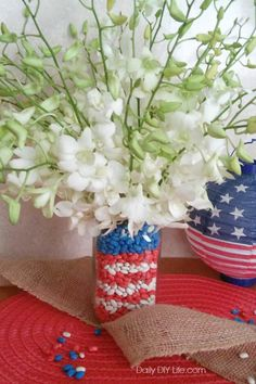Craft your love for the Red White & Blue with this easy DIY Patriotic Mason Jar craft. Add a stunning bouquet of fresh cut flowers and you have the perfect addition to your holiday decor! Patriotic Crafts, Patriotic Decorations, Holiday Decorations, Mason Jar Crafts, Mason Jar Diy, Crafts To Do, Diy Crafts, Decor Crafts, Red Mason Jars
