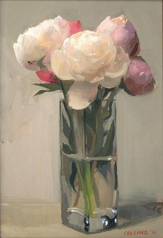 Jacob Collins Peonies in a Glass