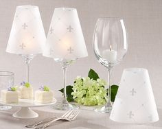 """""""Fleur de Lis"""" Vellum Shade (Set of 24)With our regally appointed """"Fleur-de-lis"""" vellum shade, Kate Aspen sheds light on one of the most exquisite ideas in table decor."""