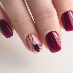 Maroon Nail Designs, Cool Nail Designs, Acrylic Nail Designs, Acrylic Nails, Trendy Nail Art, New Nail Art, Stylish Nails, Nagel Gel, Super Nails