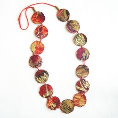 Obi Circles Necklace in vintage fabric