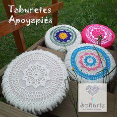Taburetes Posapié Soñarte, fabricados con circunferencias de carretes para cables. www.sonarte.cl