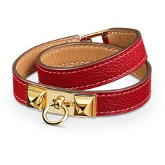 Hermès Rivale Double Tour Bracelet ($560) ❤ liked on Polyvore featuring jewelry, bracelets, leather jewelry and leather bangle