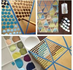 Learn The Basics of Canvas Painting Ideas And Projects ART diy canvas painting techniques - Diy Techniques and Supplies Tape Painting, Easy Canvas Painting, Diy Canvas Art, Canvas Crafts, Diy Painting, Canvas Paintings, Pattern Painting, Blank Canvas, Canvas Ideas