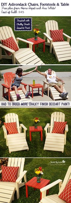 $45 DIY Adirondack Outdoor Furniture Plan @savedbyloves.