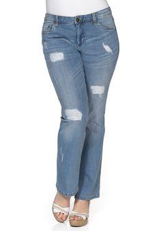 sheego Denim Bootcut Stretch-Jeans Mila - light blue Denim | Damenmode online kaufen