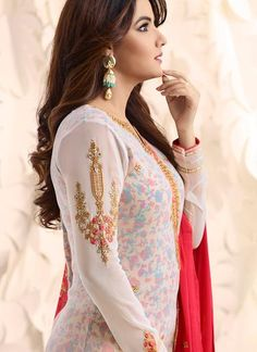 White and Hot Pink Embroidered Georgette Churidar Suit Pakistani Party Wear Dresses, Indian Dresses, Beautiful Suit, Beautiful Dresses, Prettiest Actresses, Churidar Suits, Bridal Lehenga, Indian Designer Wear, Stylish Girl