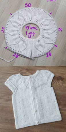 Lille Dahlia Romper pattern by Lene Holme Samsøe Diy Crochet Sweater, Baby Sweater Knitting Pattern, Crochet Baby Cardigan, Sweater Knitting Patterns, Knit Baby Dress, Knit Crochet, Crochet Stitches, Knitting For Kids, Free Knitting