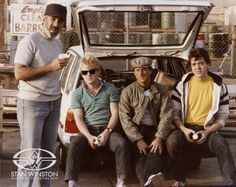 Early days with the Stan Winston Studio team; from left: Stan Winston, Shane Mahan (sunglasses), John Rosengrant and Tom Woodruff, Jr.