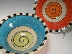 Set of Bowls Porcelain Bowls Red Orange green and by PainterlyPots, $64.00