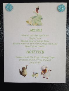 Princess and the Frog Menu - Princess and the Frog Movie Night - Disney Movie Night - Family Movie Night