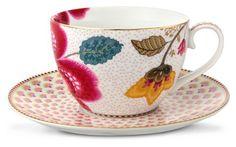 PiP Studio - 'Floral Fantasy' Collection - Teacup & Saucer, White