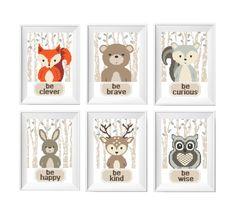 Animals Cross Stitch Printable PDF Pattern, Baby Shower Gift, Cute Decor, Nursery Newborn Room Decor, Embroidery Set Fox Bear Bunny Deer DIY