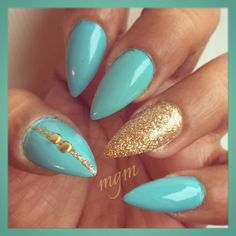 Teal & Gold ... Polishes used: Full House by Revlon and Cleopatra by ChinaGlaze.
