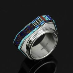 Ring | Carl & Irene Clark (Navajo). Sterling Silver, Natural Turquoise, Coral, Lapis, Jet, and Sugilite