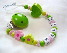 Schnullerkette mit Namen -Blümchen rosa / lemon von Calimera-Kids - Schnullerketten auf DaWanda.com
