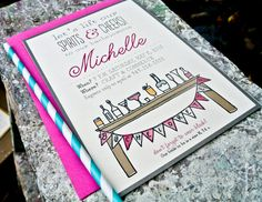 Bachelorette Party invite Whimsical illustration by WideEyesDesign, $2.00