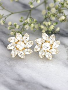 Bridal White and Gold Cluster Flower Earrings, Clear Swarovski Crystal Bridesmaids Stud Earrings, Handmade Wedding and Party Jewelry Cluster Earrings, Crystal Earrings, Stud Earrings, Flower Earrings, Bridesmaid Earrings, Bridesmaid Gifts, Bridal Rings, Bridal Jewelry, Jewelry Party