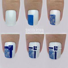 Check these out nail art designs Nail Art Designs Videos, Gel Nail Designs, Line Nail Art, Hard Nails, Nail Art Techniques, Lines On Nails, Geometric Nail, Nail Patterns, Nail Art Hacks