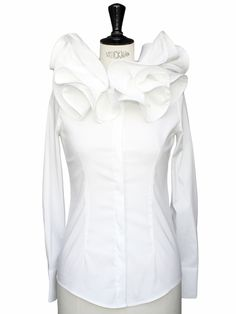 white ruffle blouse long sleeve | Luxury white cotton long sleeves shirt with ruffle collar