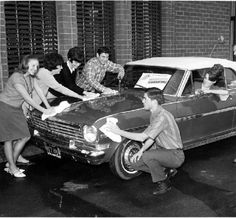 Promotional photograph for the Valley March of Dimes in Van Nuys, circa 1967. Benefit car wash raised funds to fight birth defects. San Fernando Valley Historical Society. San Fernando Valley History Digital Library.