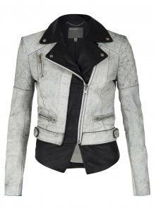 Muubaa| Tugela White & Black Leather Biker Jacket