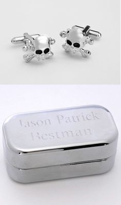 Dashing Skull & Crossbones Cufflinks with Personalized Case from Wedding Favors Unlimited