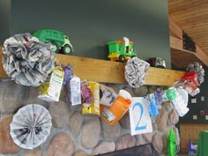 trash / recyclables banner at her son's garbage truck birthday party - great theme and creative reuse stores are the perfect party supply shop! 7th Birthday Party Ideas, Cars Birthday Parties, Birthday Games, Third Birthday, Boy Birthday, Garbage Truck Party, Trash Party, Party Time, Trucks