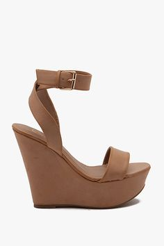 Nude Fanny PU Toe Strap Ankle Strap Wedge