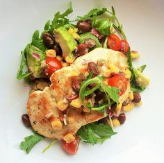 Lemon Chicken with Avocado Corn Salsa Recipe. Beautiful colors, beautiful flavors. #food #recipes #cooking #lemon #chicken #avocado #corn #salsa