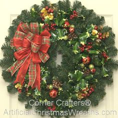 Holly Jolly Christmas Wreath - 2013 - A beautiful traditional Christmas Wreath with reds and greens highlighted with Holly and a lovely bow. - #Wreaths #ChristmasWreaths #ArtificialChristmasWreaths