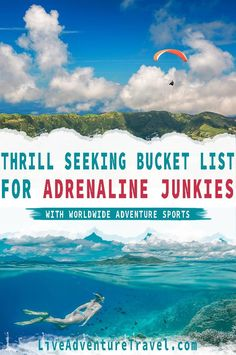 This is the Ultimate Adrenaline Junkie Bucket List for Thrill Seekers, Adventure Sports & Extreme Sports Lovers. It features the personal experiences of high Adrenaline Rush Activities from around the world as told by travel bloggers. If you are looking to complete your adventure sports bucket list look no further because these adrenaline junkie activities are sure to make your heart rush. What are you waiting for? Get ready to try some of the world's most thrill seeking activities #BucketLi