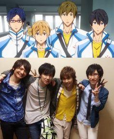 """Free! - """"Iwatobi High School"""" Rei Ryūgazaki (Daisuke Hirakawa), Nagisa Hazuki (Tsubasa Yonaga), Makoto Tachibana (Tatsuhisa Suzuki), Haruka Nanase (Nobunaga Shimazaki)"""