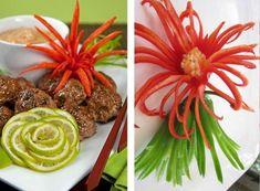 Blumen aus Paprika und Gurken zum Garnieren