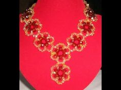 the tutorial on how to make this beautiful red and gold beads necklace - YouTube