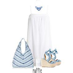 Blue Ruffle Bag by paperdollsq on Polyvore featuring BCBGMAXAZRIA, Ralph Lauren, Topshop, Liz Claiborne and ruffles
