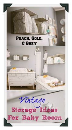 Vintage Storage Ideas For Baby Room. You will love the peach and blue accents #baby #nuseryideas #vintage #modern #design