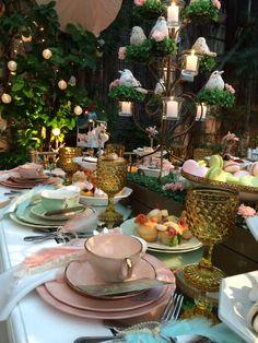 Te por la Educacion Mesa Vintage227 #mint #peach #gold #tea table #wedding table ideas