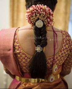 37 Trendy Wedding Hairstyles Indian Engagement Saree - Hairstyles for medium length hair South Indian Wedding Hairstyles, Bridal Hairstyle Indian Wedding, Bridal Hair Buns, Bridal Hairdo, Hair Wedding, Wedding Vows, Wedding Blog, Engagement Saree, Engagement Hairstyles