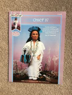 Indian Chief IV Crochet Pattern, Indian Chief Ceremonial Wedding Outfit and beads for Groom 15 inch doll by Fibre Craft FCM449 by EllieMarieDesigns on Etsy