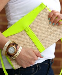 The Pretty Life Anonymous: DIY: Neon-Trimmed Purses