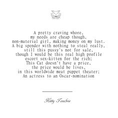 A Pretty Craving Whore - Kitty Tenebris  not for sale money on my lust poetry poem poets of instagram kitty tenebris instaquote quotes