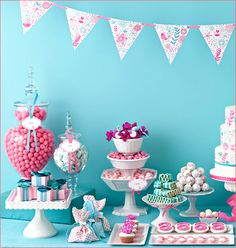 vintage-style dessert table with aqua and magenta - pretty for a girl's birthday party
